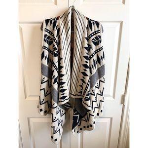 Sweaters - Wool Draped Shawl with Geometric Designs